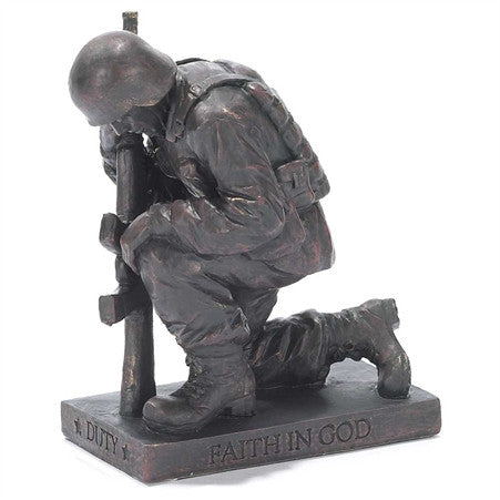 Soldier Called to Pray Christian Figurine