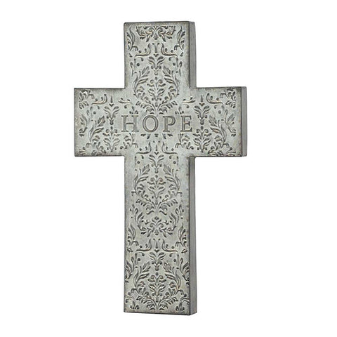 Hope Vintage Style Embossed Tin Christian Wall Cross 18.5""