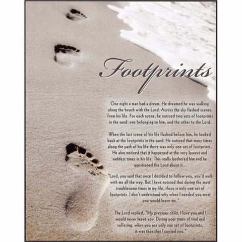 Footprints Inspirational Christian Plaque
