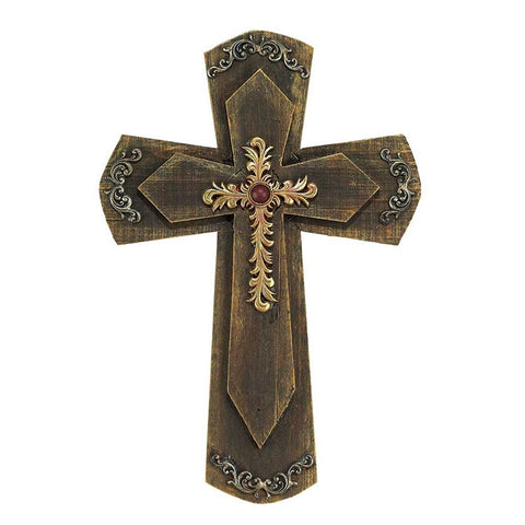 Floral Christian Wall Cross on Double Wood Crosses