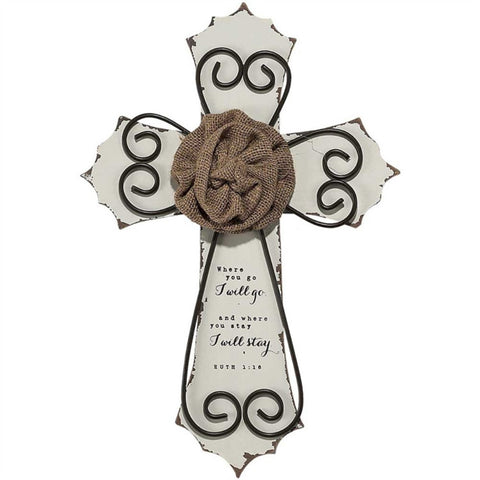 Wedding Double Wall Christian Cross with Burlap Flower 14""