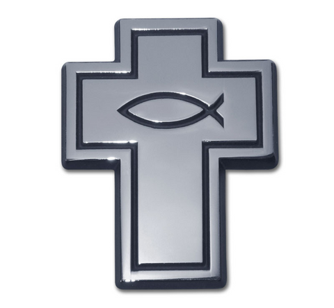 Christian Cross with Fish Chrome Auto Emblem