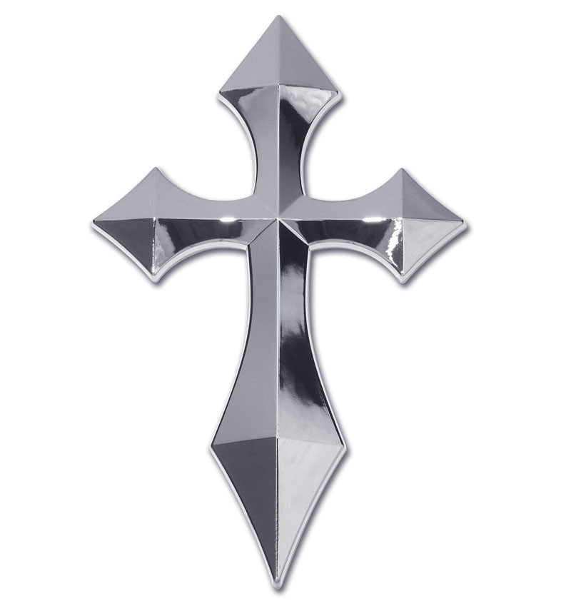 Christian Pointed Cross Chrome Auto Emblem