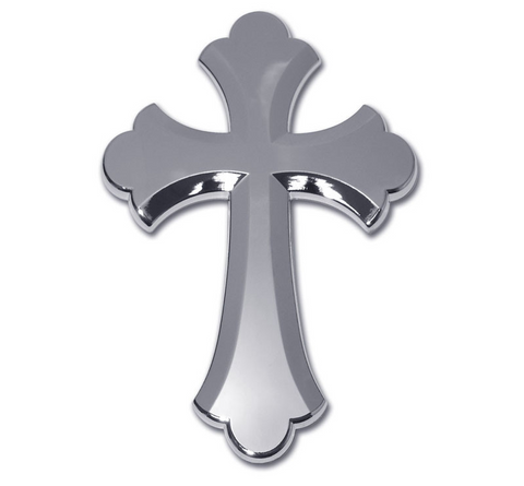 Christian Ruffled Cross Chrome Auto Emblem