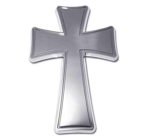 Christian Tapered Cross Chrome Auto Emblem