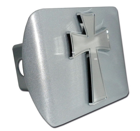Tapered Christian Cross Brushed Chrome Hitch Cover