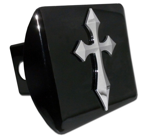 Pointed Christian Cross Black Hitch Cover