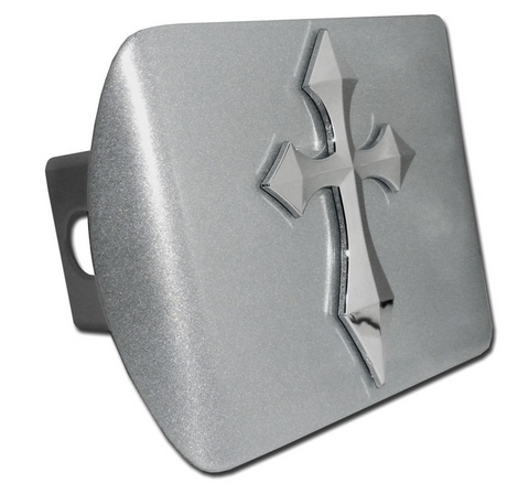 Pointed Christian Cross Brushed Chrome Hitch Cover
