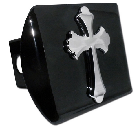 Ruffled Christian Cross Black Hitch Cover