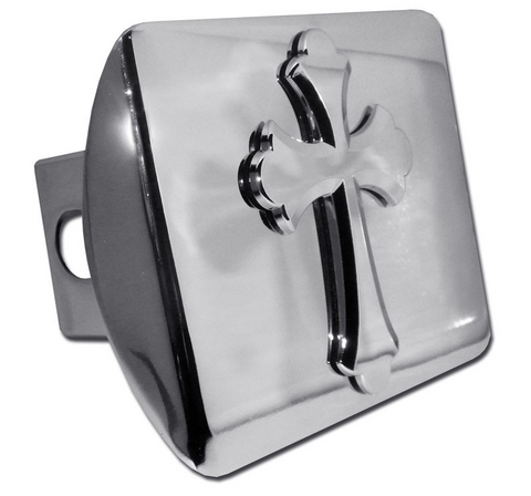Ruffled Christian Cross Shiny Chrome Hitch Cover