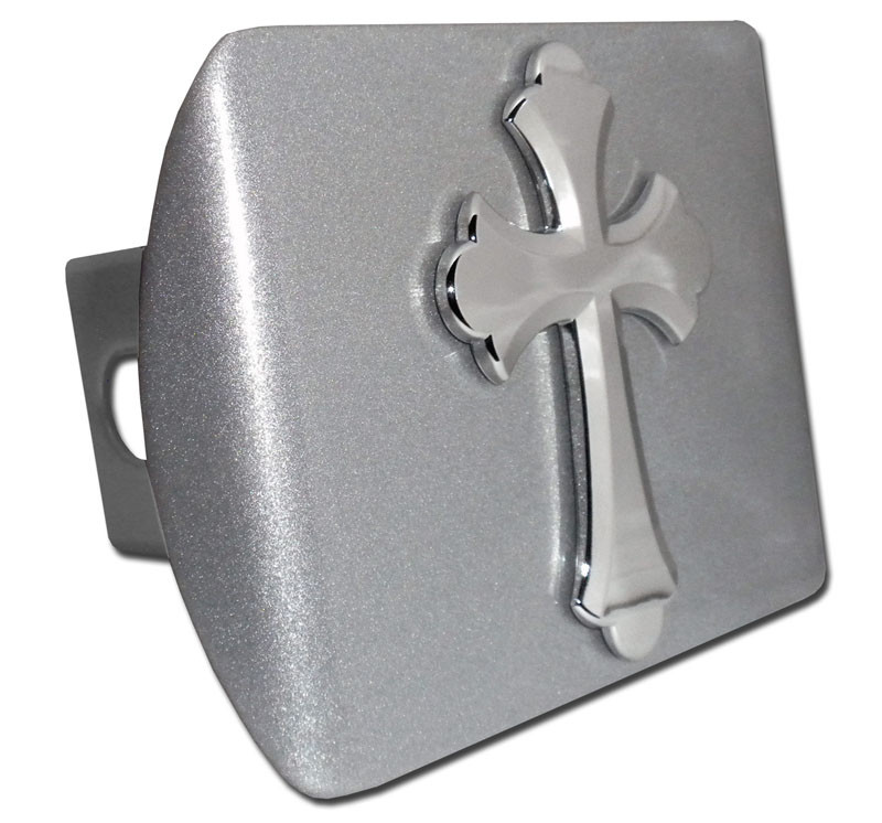 Ruffled Christian Cross Brushed Chrome Hitch Cover