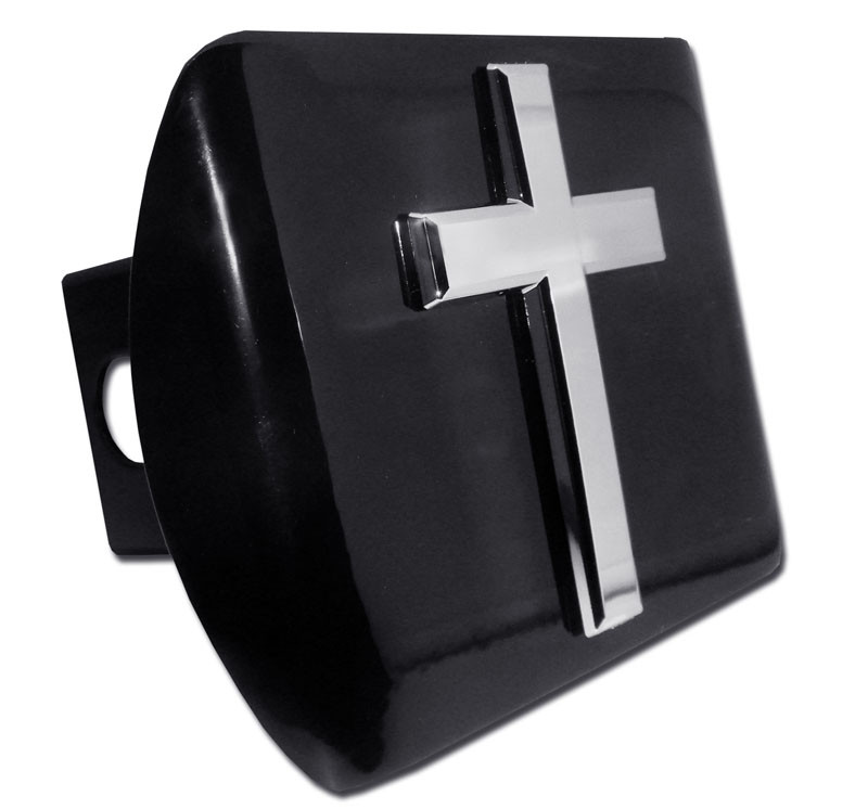 Classic Christian Cross Black Hitch Cover
