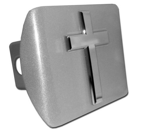Classic Christian Cross Brushed Chrome Hitch Cover