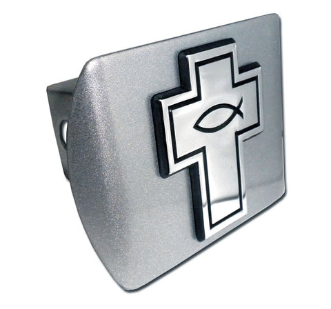 Christian Fish Cross Brushed Chrome Hitch Cover