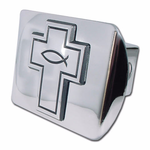 Christian Fish Cross Shiny Chrome Hitch Cover