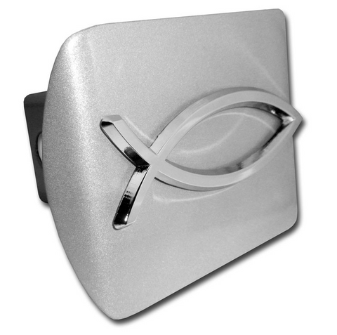 Christian Fish Brushed Chrome Hitch Cover