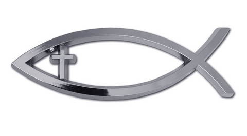 Christian Fish with Cross Chrome Auto Emblem