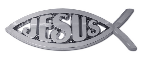 Christian Jesus Fish Chrome Auto Emblem