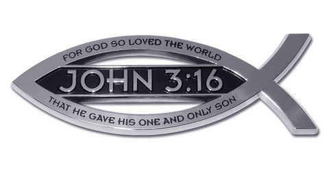 John 3:16 Fish w/ Script Christian Chrome Auto Emblem