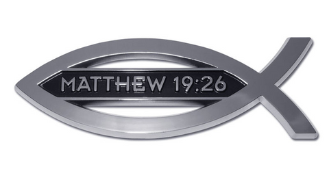 Matthew 19:26 Fish Christian Chrome Auto Emblem