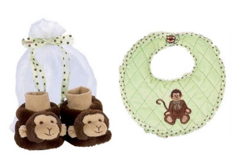 Bearington Bears Giggles Monkey Baby Bib and Booties Set