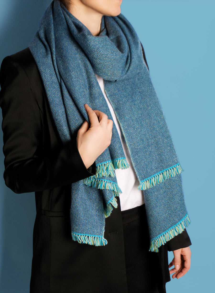 Denim blue coloured, sustainable wool scarf