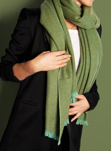 Green coloured, sustainable wool scarf