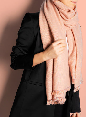 Rose coloured, sustainable wool scarf