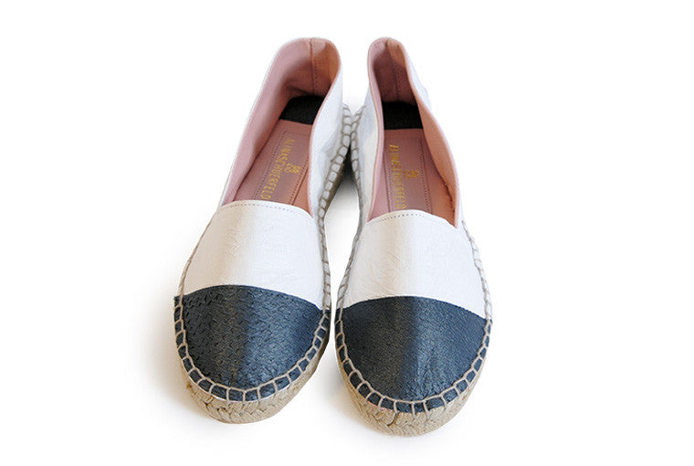 Black and white colored sustainable Espadrilles