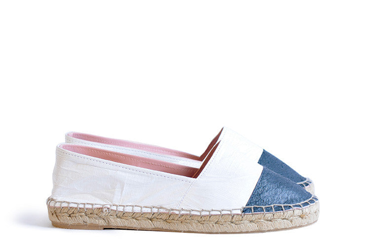 Black and white colored sustainable Espadrilles by ALINASCHUERFELD