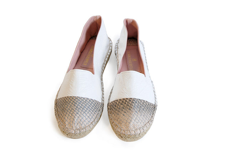 Rose and white colored sustainable Espadrilles