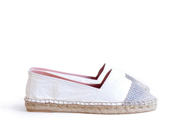 Rose and white colored sustainable Espadrilles by ALINASCHUERFELD