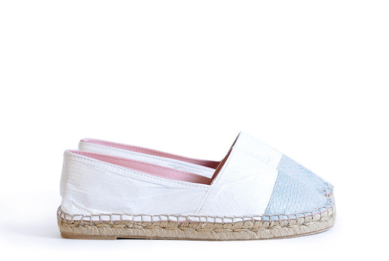 Silver and white colored sustainable Espadrilles by ALINASCHUERFELD