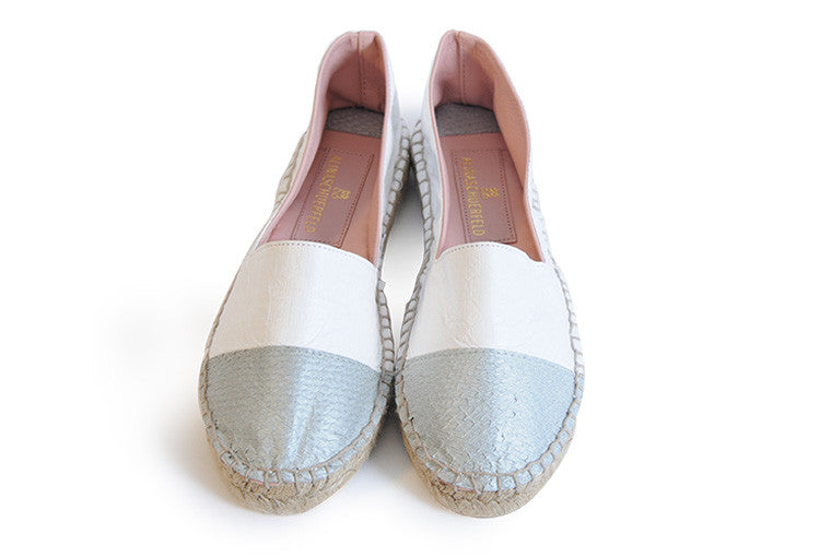 Silver and white colored sustainable Espadrilles