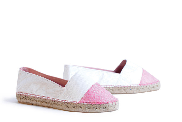 Pink and white colored sustainable Espadrilles