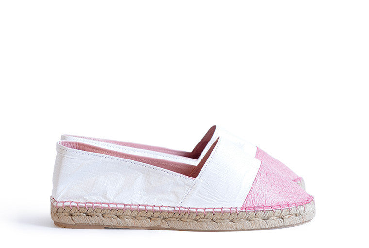 Pink and white colored sustainable Espadrilles by ALINASCHUERFELD