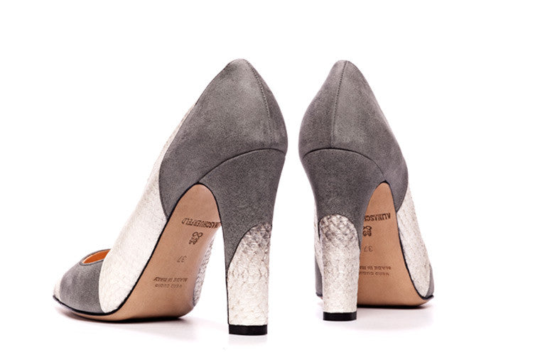 Grey and white colored sustainable Pumps by ALINASCHUERFELD