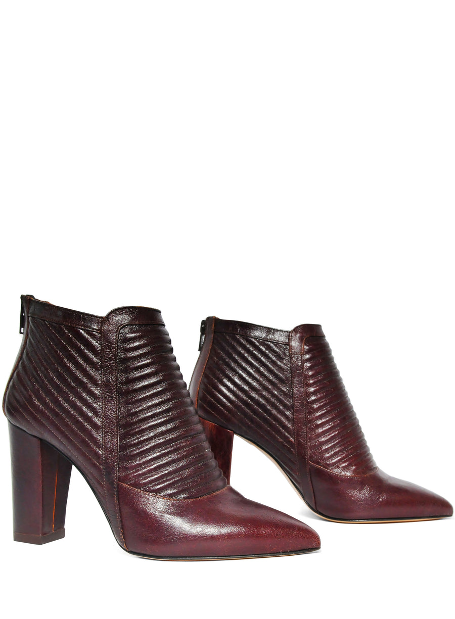 Red coloured sustainable ankle boot by ALINASCHUERFELD