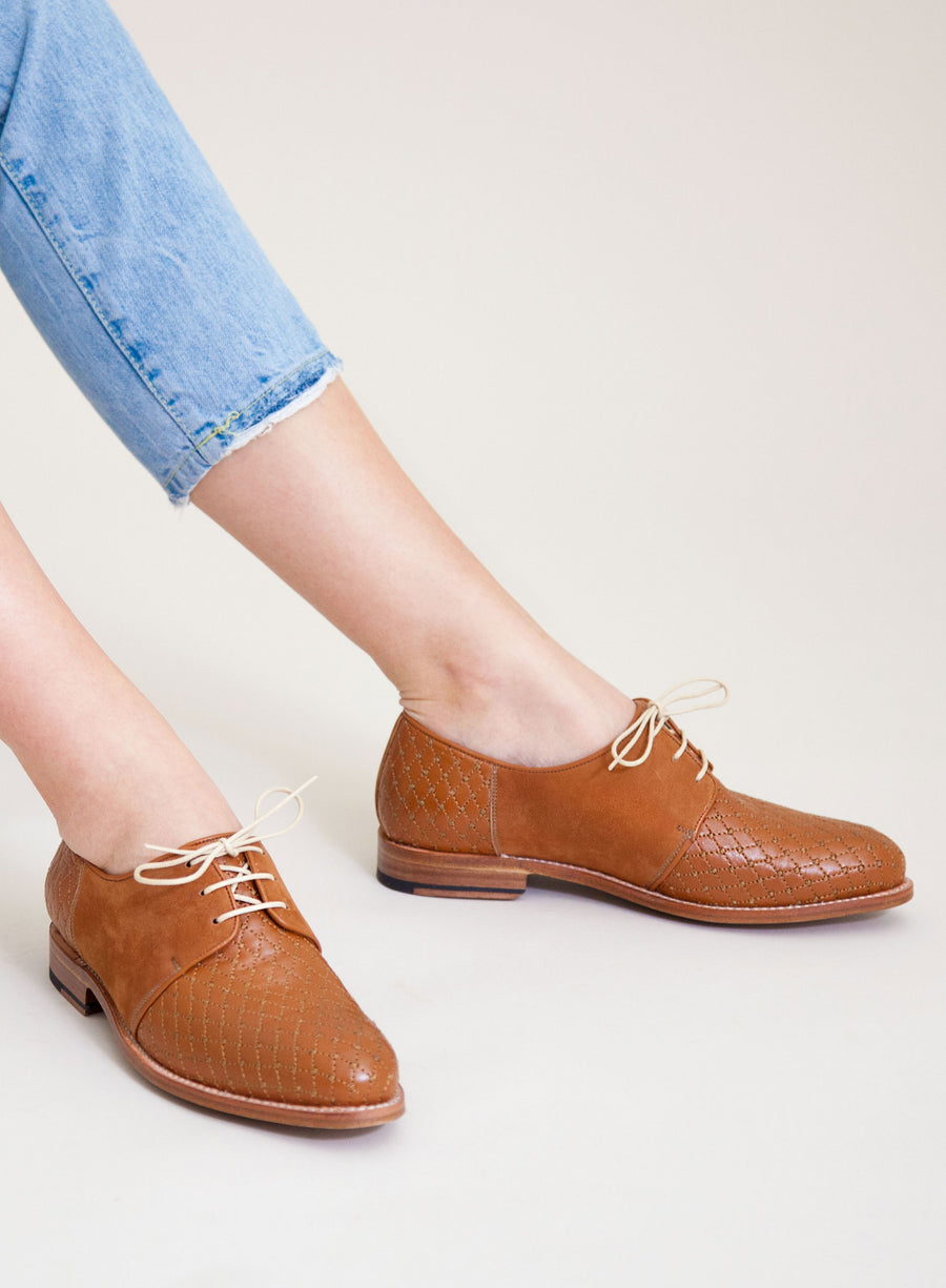 Goodyear welted, brown coloured sustainable flat shoe by ALINASCHUERFELD