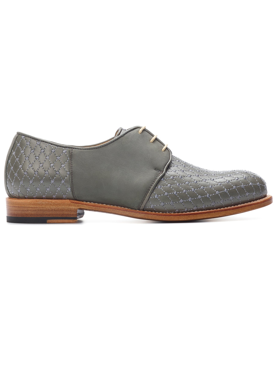 Goodyear welted, grey coloured sustainable flat shoe by ALINASCHUERFELD