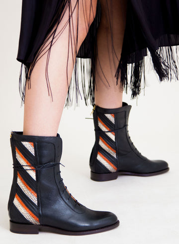 Goodyear welted, black coloured sustainable ankle boot by ALINASCHUERFELD