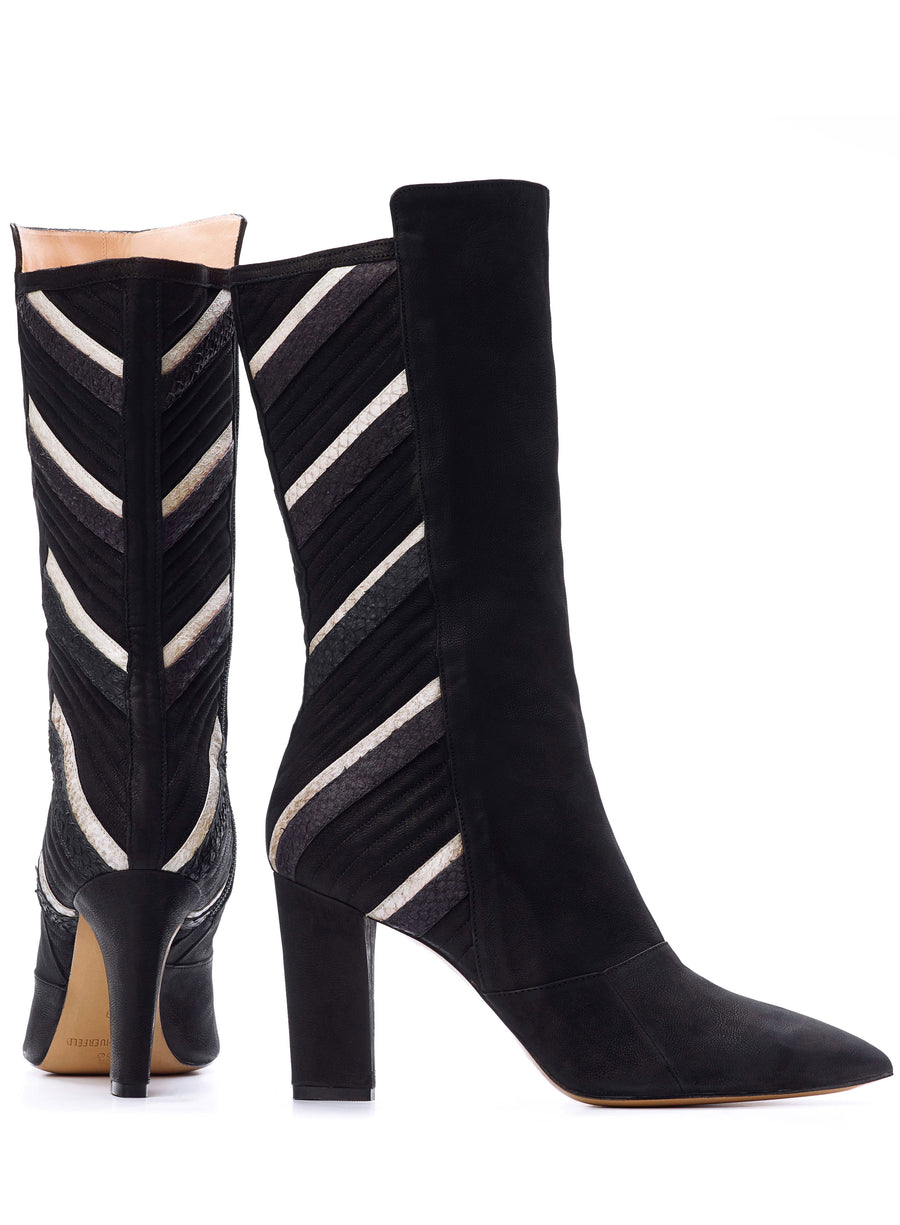 Black and white coloured sustainable boot by ALINASCHUERFELD