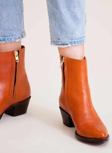 Goodyear welted, cognac coloured sustainable ankle boot by ALINASCHUERFELD