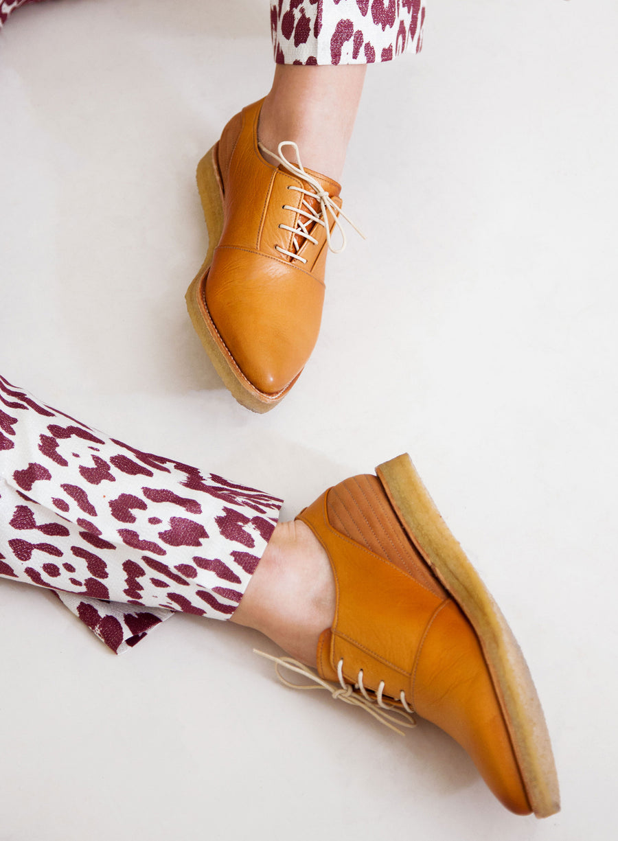 Goodyear welted, brown coloured sustainable flat shoe with a crepe sole by ALINASCHUERFELD