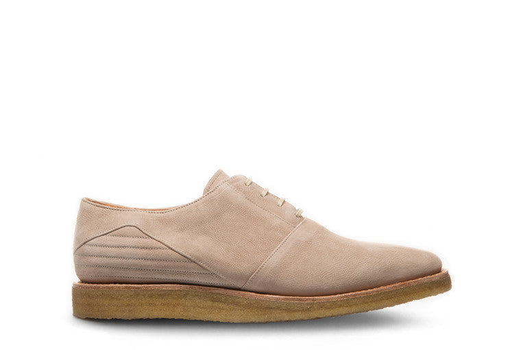 Goodyear welted, nude coloured sustainable flat shoe with a crepe sole by ALINASCHUERFELD