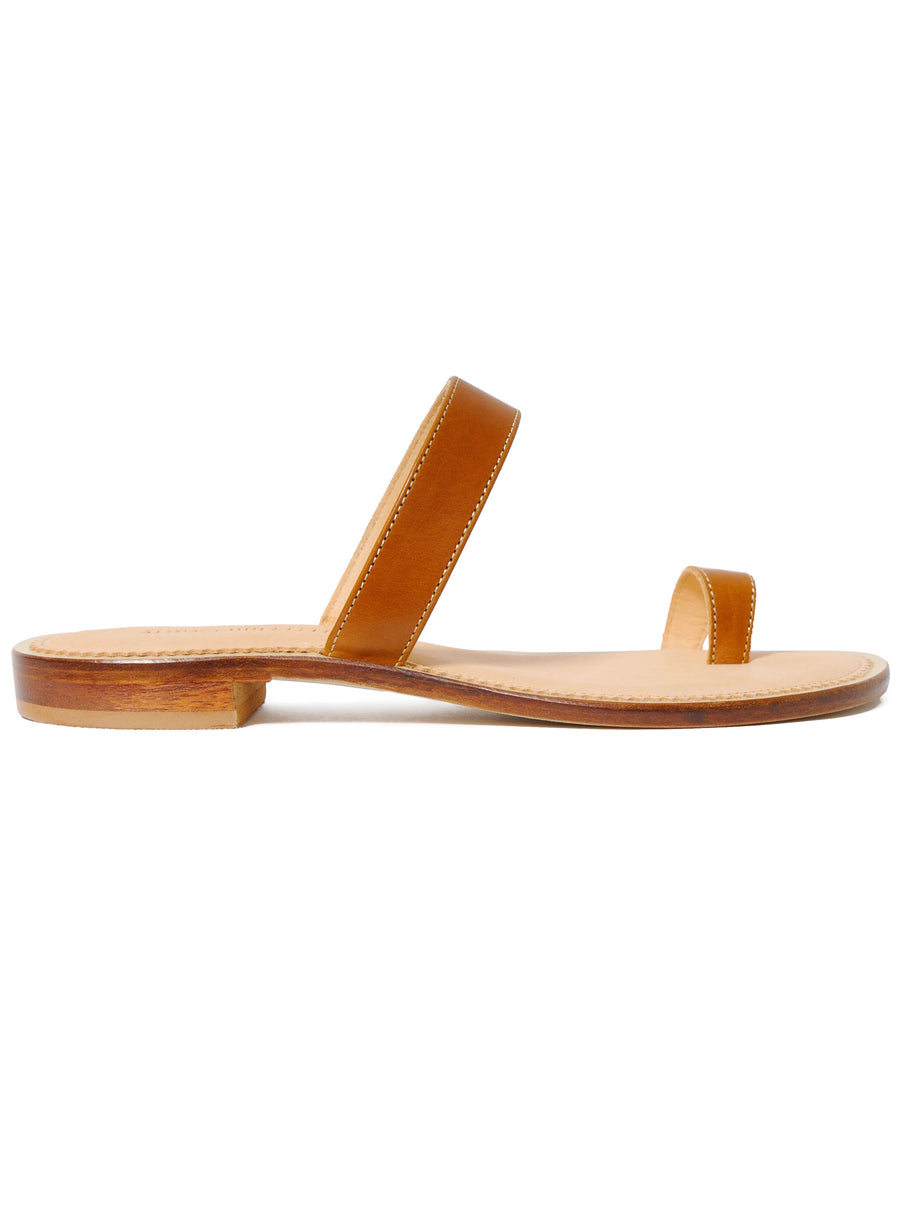Caramel Brown coloured sustainable sandal by ALINASCHUERFELD