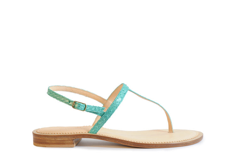 Mint blue coloured sustainable sandal by ALINASCHUERFELD