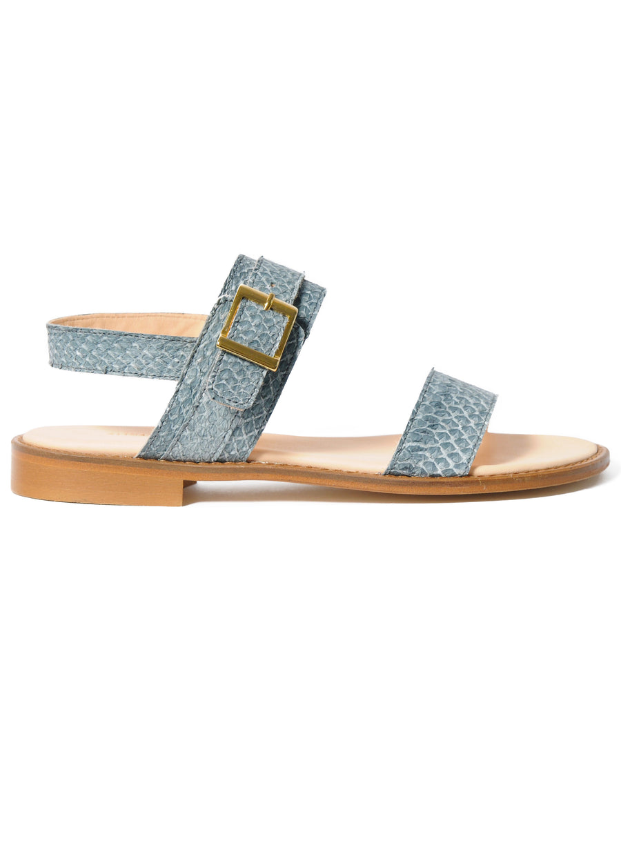 Grey coloured sustainable sandal with golden buckles by ALINASCHUERFELD