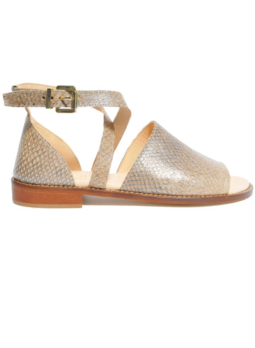 Nude coloured sustainable sandal with golden buckles by ALINASCHUERFELD