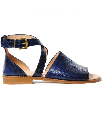 Blue coloured sustainable sandal with golden buckles by ALINASCHUERFELD